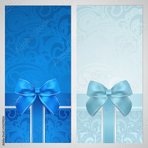 Gift certificate, Voucher, Coupon, Gift card. Blue pattern, bow