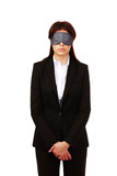 beautiful young blindfold businesswoman, isolated on white