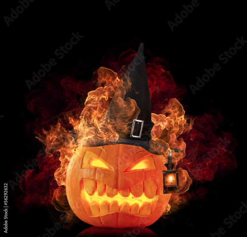 Burning pumpkin