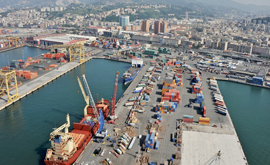 The cargo port of Genoa