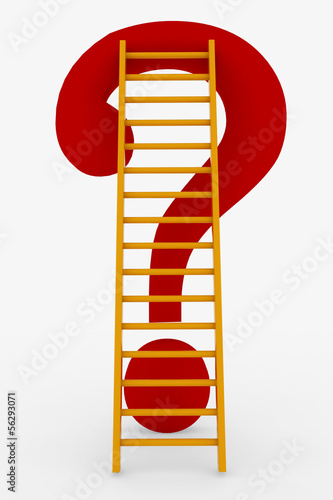 Ladder and question mark. Concept of way to solving problem