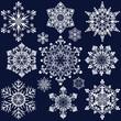 White snowflake ornate shapes isolated