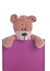 teddy bear with empty purple label sign