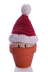 christmas gnome decoration figure in a flower pot