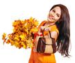 Woman holding  orange handbag