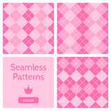 Set of cute pink girlish seamless patterns.
