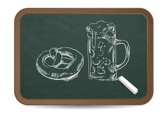 Oktoberfest Kreidezeichnung • Brezn & Weißwurst