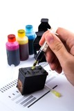 Injecting ink cartridge. Set of refill inkjet for print.