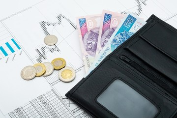 Polish money in wallet. Banking savings concept
