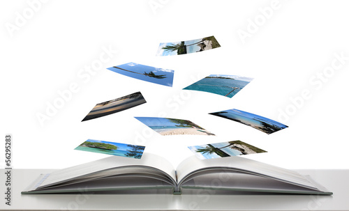 Photobook with Photos of Beach Scenes Floating - 56295283