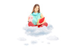 Smiling student sitting on clouds with books and popcorn box