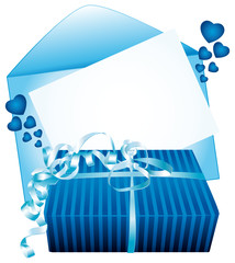 Beautiful blue gift with message card.