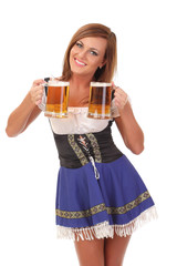 smiling waitress with two mugs of beer