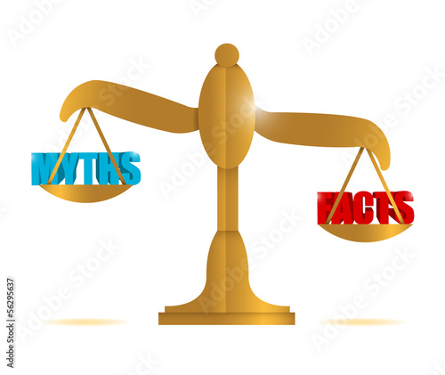 myths and facts balance illustration
