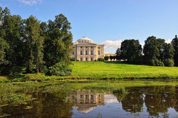 Summer landscape of the Pavlovsk garden and palace.