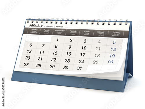 Calendar, white background