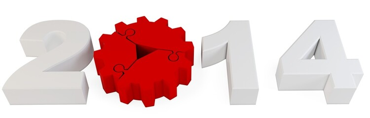 3d year number 2014 with gear wheel