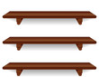 Wall Shelves, wide, mahogany wood grain detail, isolated
