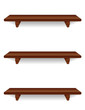 Wall Shelves, mahogany wood grain detail, isolated on white