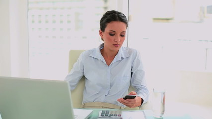 Pretty businesswoman texting on her smartphone