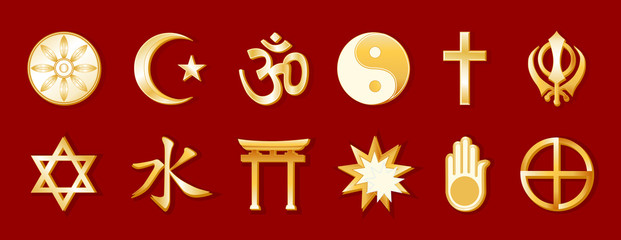 World Religions, 12 international faith symbols, beliefs, red
