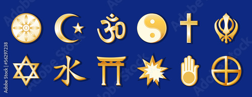 World Religions, 12 international faith symbols, beliefs, blue