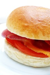 Bacon and tomato bread roll