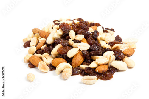 nuts and raisins isolated on white