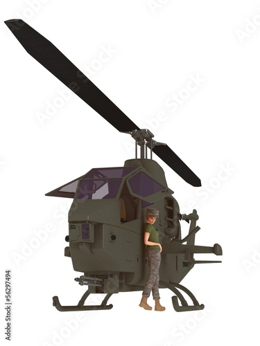 Military female mechanic leaning against chopper