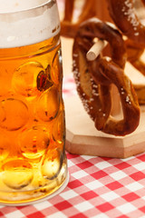 german pretzel bread with beer