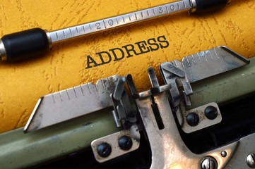 Address on typewriter