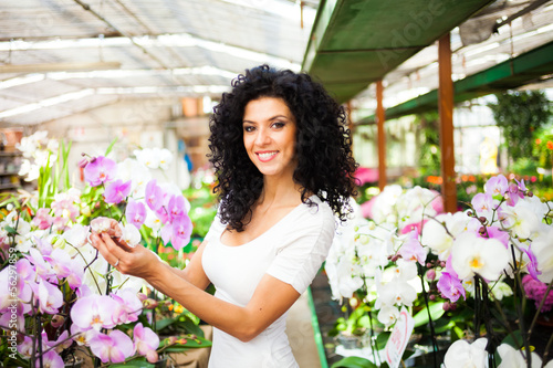 Woman examining an orchid