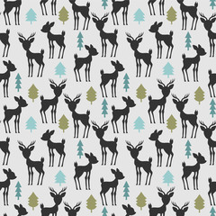 Seamless pattern with deer and trees