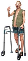 Wütender Senior / pöbeln mit Gehhilfe