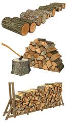 Axt und Brennholz als Stamm und Scheit