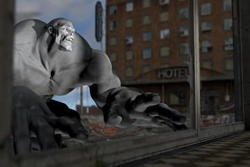 Monster in zerstörter Stadt