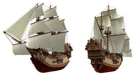Piratenschiff aus verschiedenen Perspektiven 1