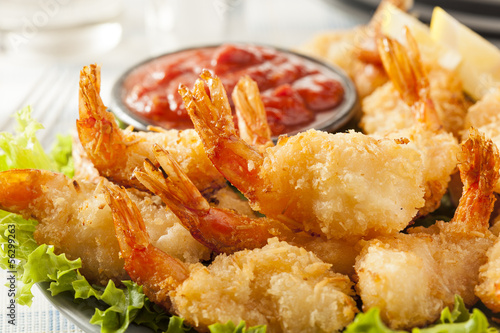 Fotobehang Schaaldieren Fried Organic Coconut Shrimp