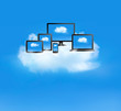 Cloud computing concept. All computer devices and white cloud. V