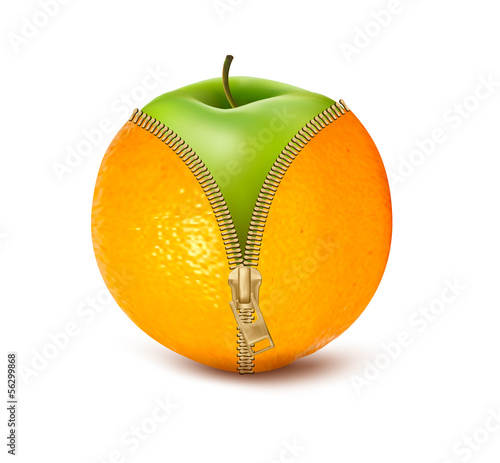 Unzipped orange with green apple. Fruit and diet against celluli