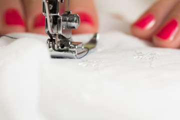 using a sewing machine