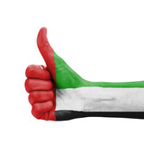 Hand with thumb up, UAE (United Arab Emirates) flag painted