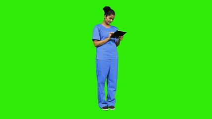 Ethnic Nurse Wireless Tablet Green Screen Touch screen Technology