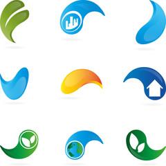 Logo, Tropfen, Blatt, Eco, Haus