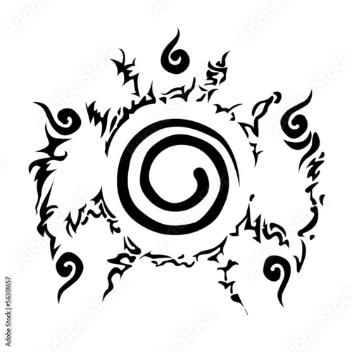 Conjugate Nine-tailed fox in Cartoon Naruto pattern