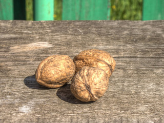 Mature walnuts on table