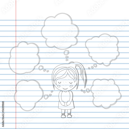 Pattern book Dream girl school cartoon vector