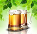 Mug of beer on a background of green leaves