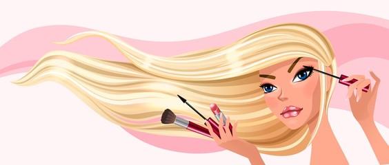 Девушка красит ресницы векторная иллюстрация