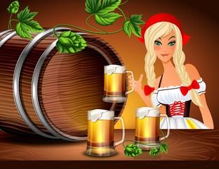 Девушка с кружкой и бочкой пива